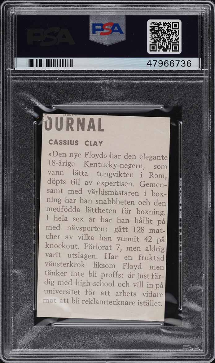 1960 Hemmets Journal Cassius Clay Muhammad Ali ROOKIE RC #23 PSA 8 NM-MT - Image 2