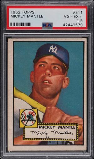 Image of: 1952 Topps Mickey Mantle #311 PSA 4.5 VGEX+