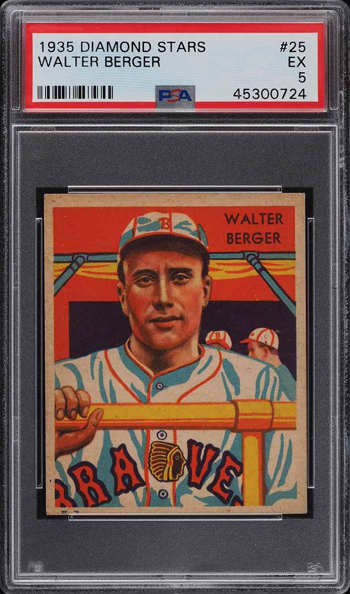1935 Diamond Stars Walter Berger #25 PSA 5 EX - Image 1