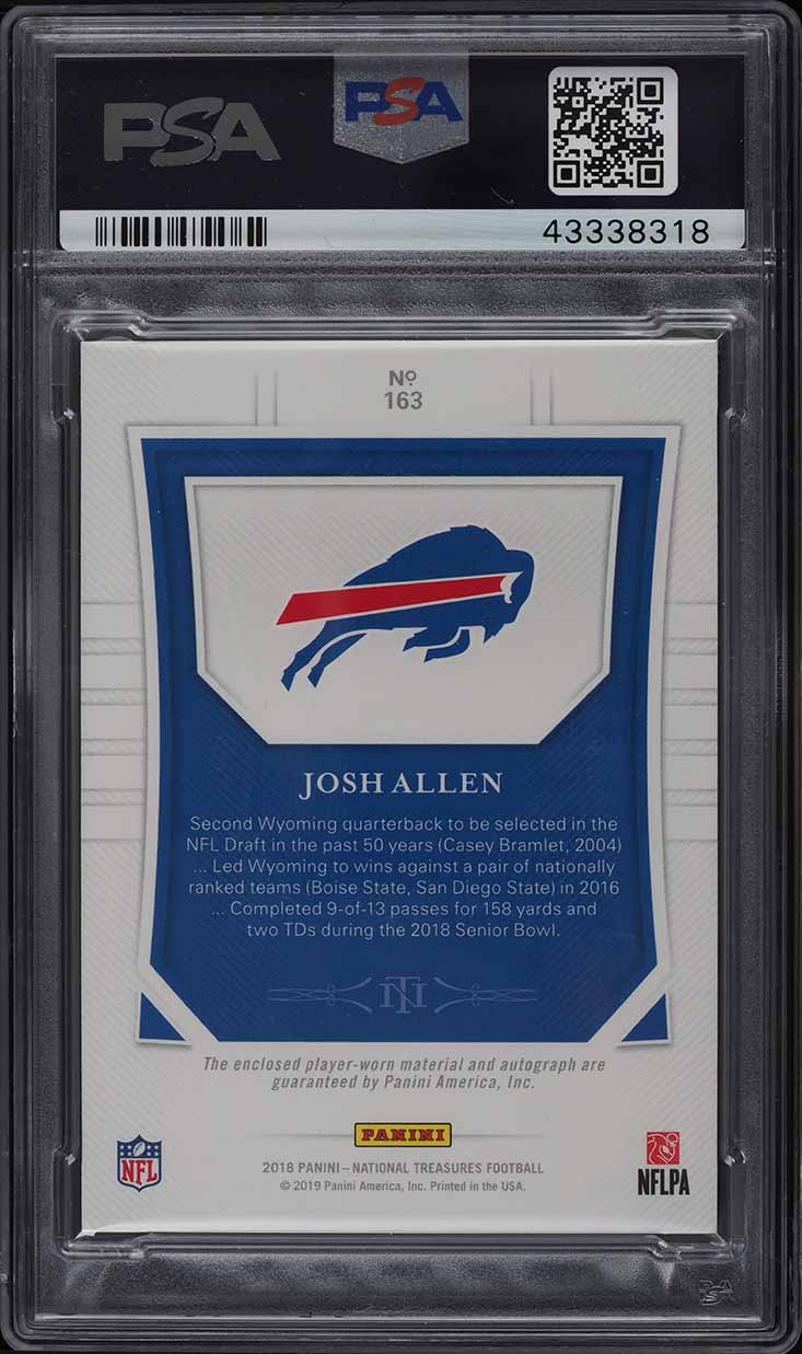 2018 National Treasures Stars & Stripes Josh Allen ROOKIE PATCH AUTO /15 PSA 10 - Image 2