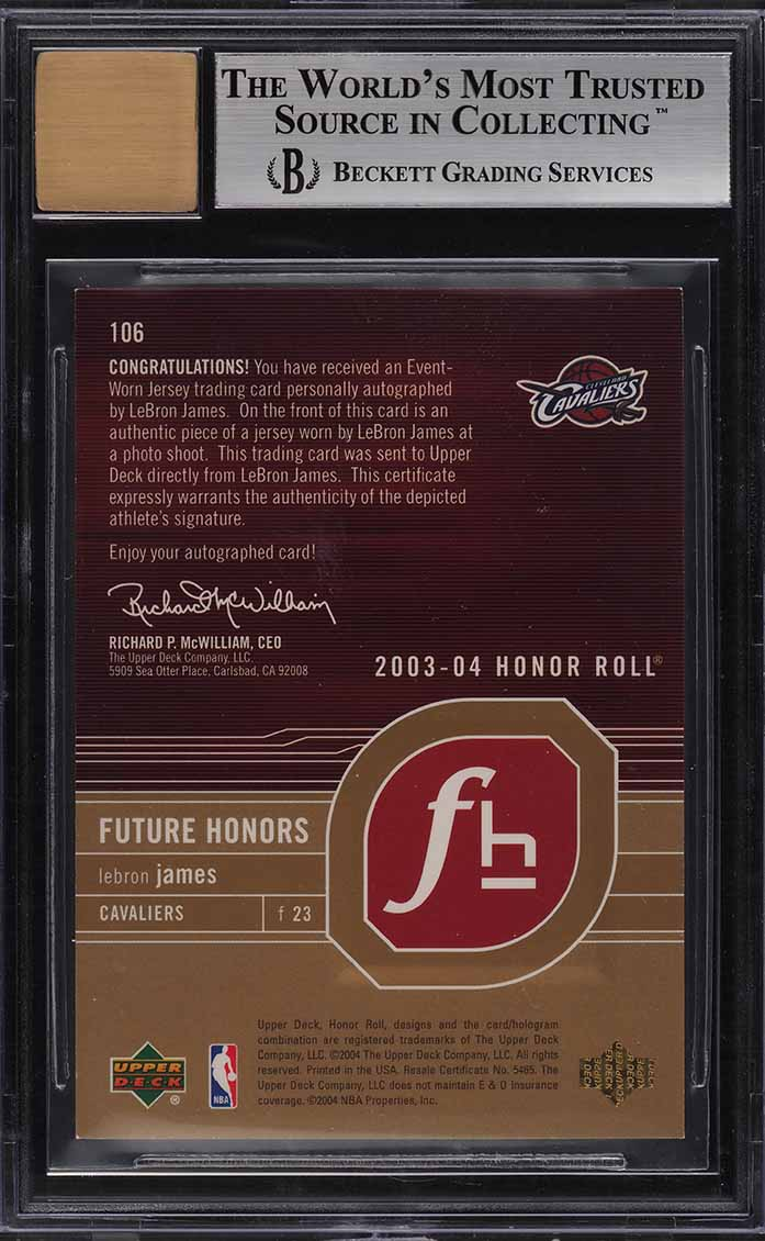 2003 Upper Deck Honor Roll Gold LeBron James ROOKIE RC PATCH AUTO /25 BGS 8.5 - Image 2