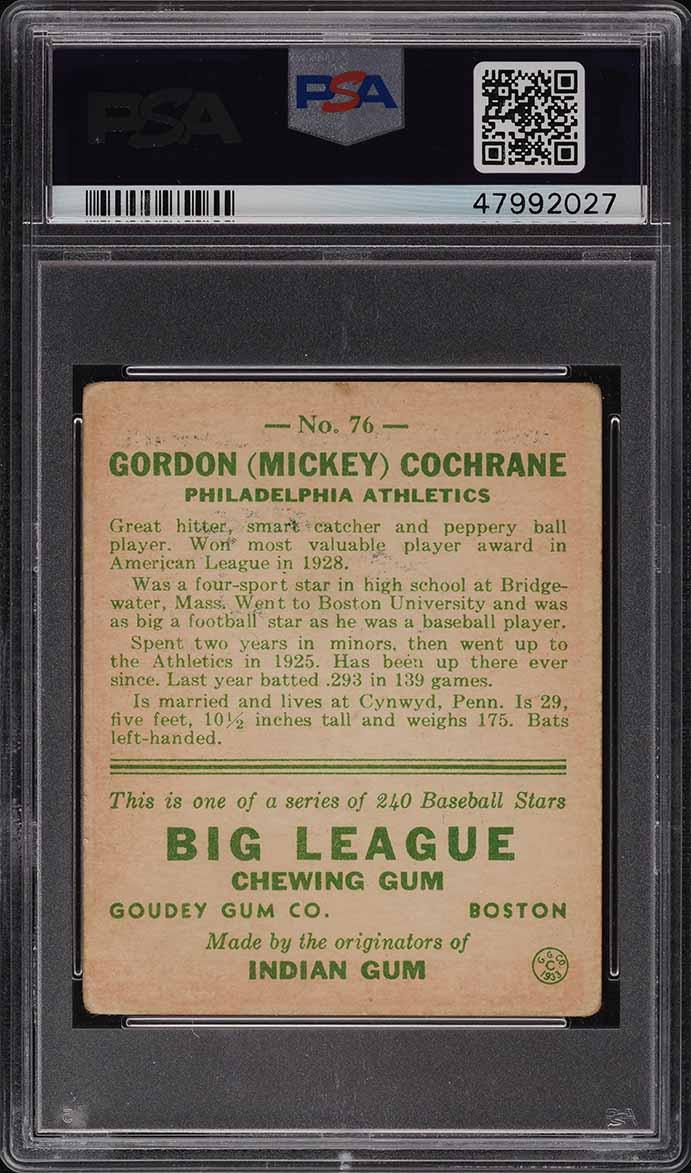1933 Goudey Mickey Cochrane #76 PSA 3 VG - Image 2
