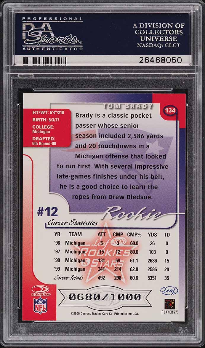 2000 Leaf Rookies & Stars Tom Brady ROOKIE RC /1000 #134 PSA 9 MINT - Image 2