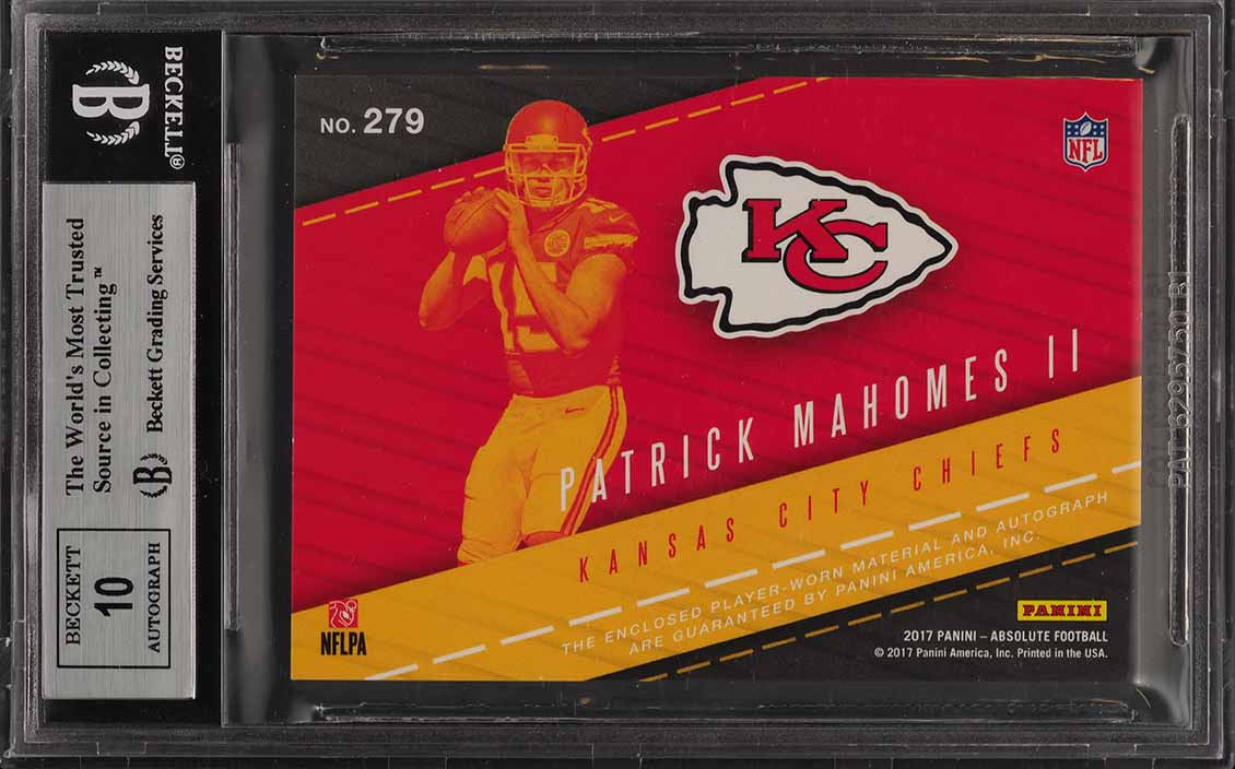 2017 Absolute Premiere Spectrum Patrick Mahomes ROOKIE PATCH AUTO 1/1 BGS 9 PWCC - Image 2