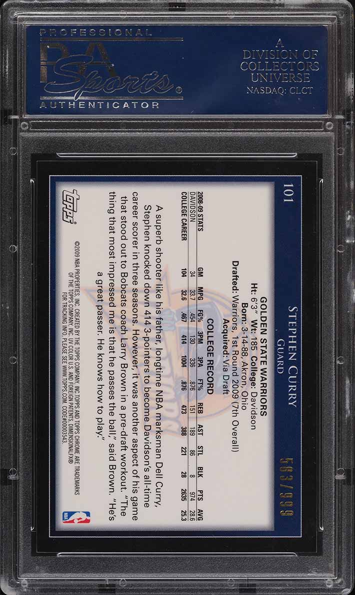 2009 Topps Chrome Stephen Curry ROOKIE RC /999 #101 PSA 10 GEM MINT - Image 2