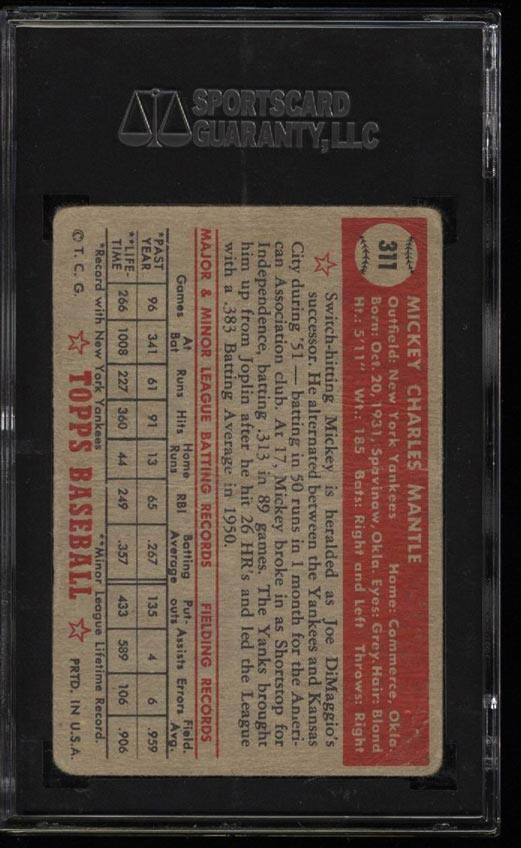 1952 Topps Mickey Mantle #311 SGC 1.5/20 FR+ (PWCC) - Image 2