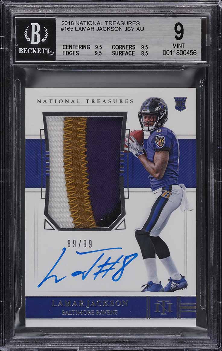 2018 National Treasures Lamar Jackson ROOKIE RC PATCH AUTO /99 #165 BGS 9 MINT - Image 1