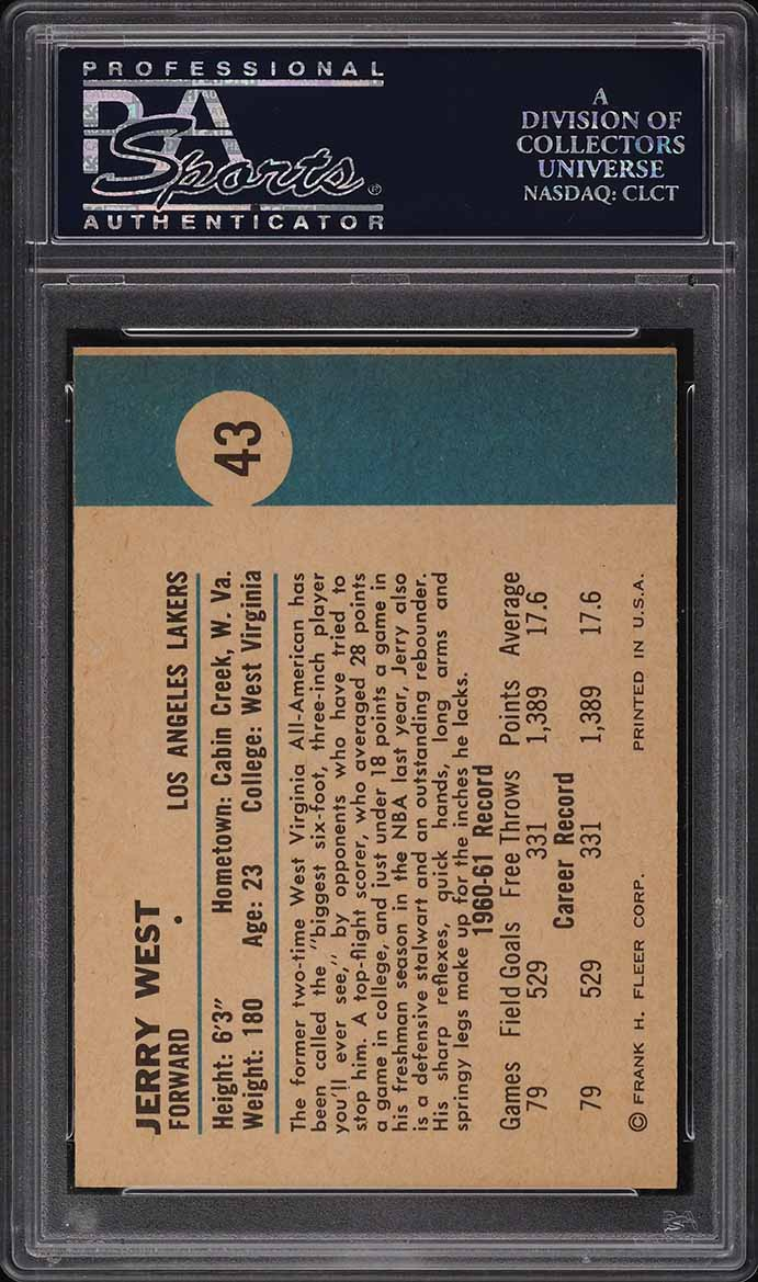 1961 Fleer Basketball Jerry West ROOKIE RC #43 PSA 8 NM-MT - Image 2