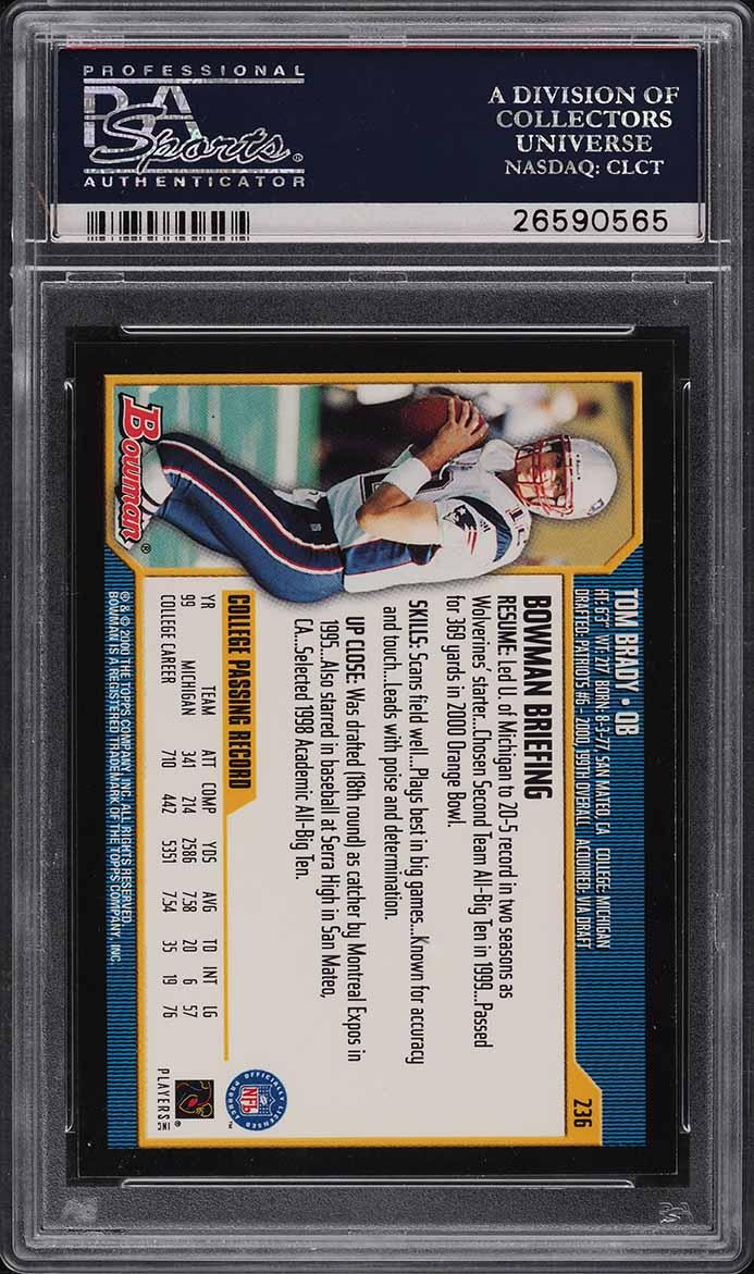 2000 Bowman Football Tom Brady ROOKIE RC #236 PSA 10 GEM MINT - Image 2