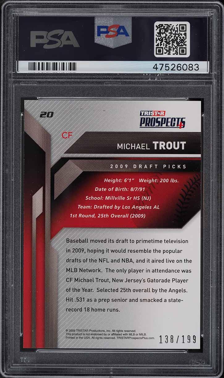 2009 Tristar Prospect Plus Mike Trout ROOKIE RC AUTO /199 #20 PSA 9 MINT - Image 2