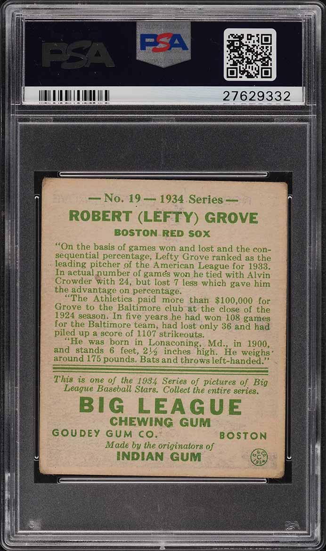 1934 Goudey Lefty Grove #19 PSA 3 VG  - Image 2