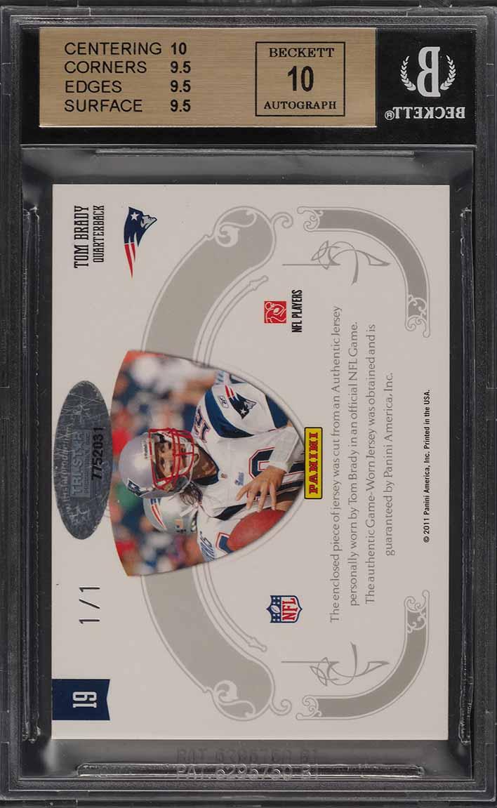 2010 National Treasures NFL Shield Tom Brady AUTO PATCH 1/1 BGS 9.5 GEM (PWCC) - Image 2