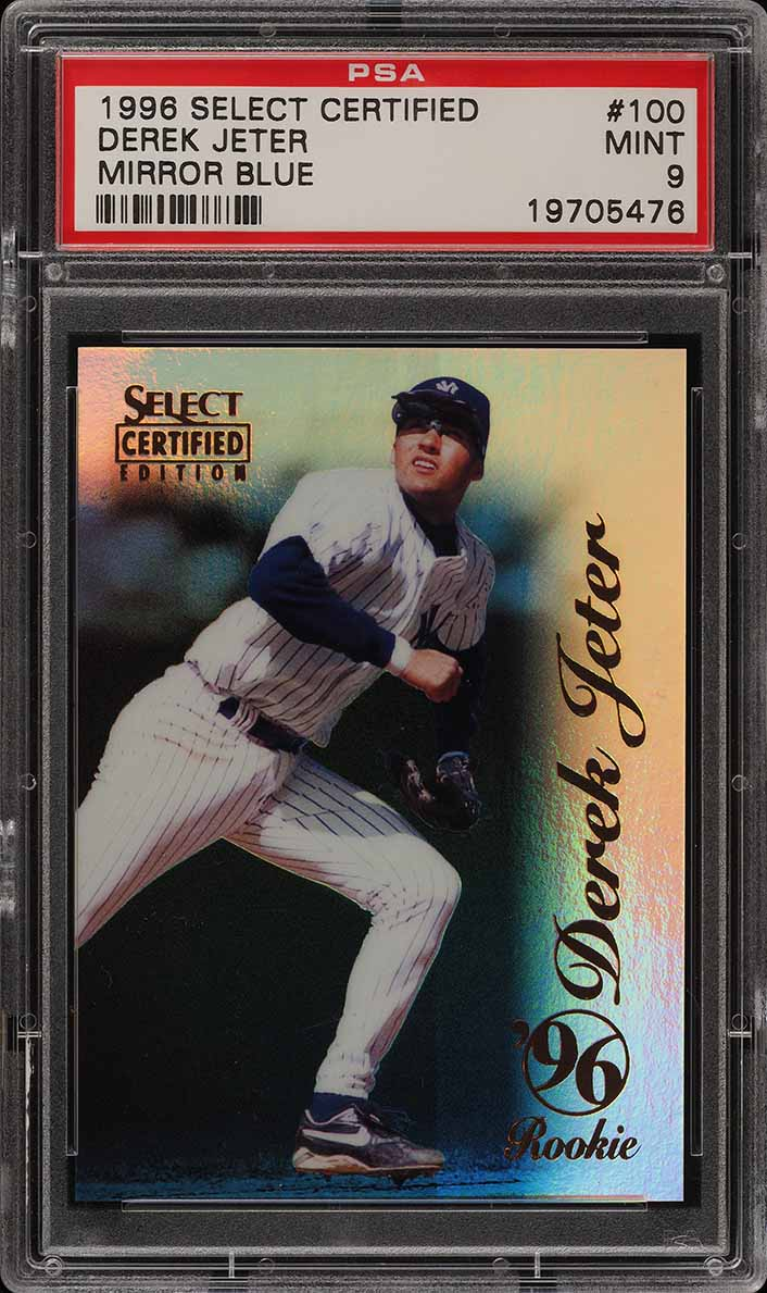 1996 Select Certified Mirror Blue Derek Jeter ROOKIE /45 #100 PSA 9 MINT (PWCC) - Image 1