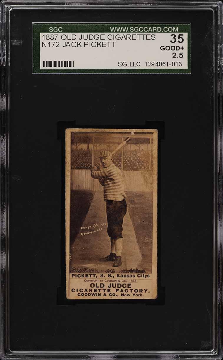1887 N172 Old Judge Jack Pickett BAT OVER RIGHT SHOULDER SGC 2.5 GD+ (PWCC) - Image 1