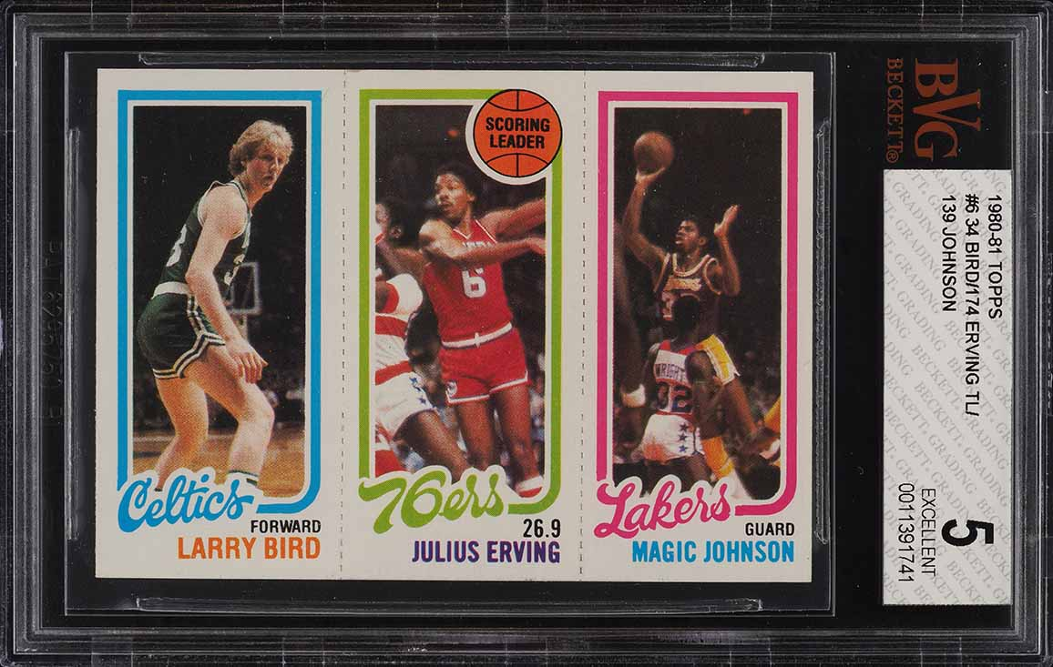 1980 Topps Basketball Larry Bird & Magic Johnson ROOKIE RC BVG 5 EX (PWCC) - Image 1