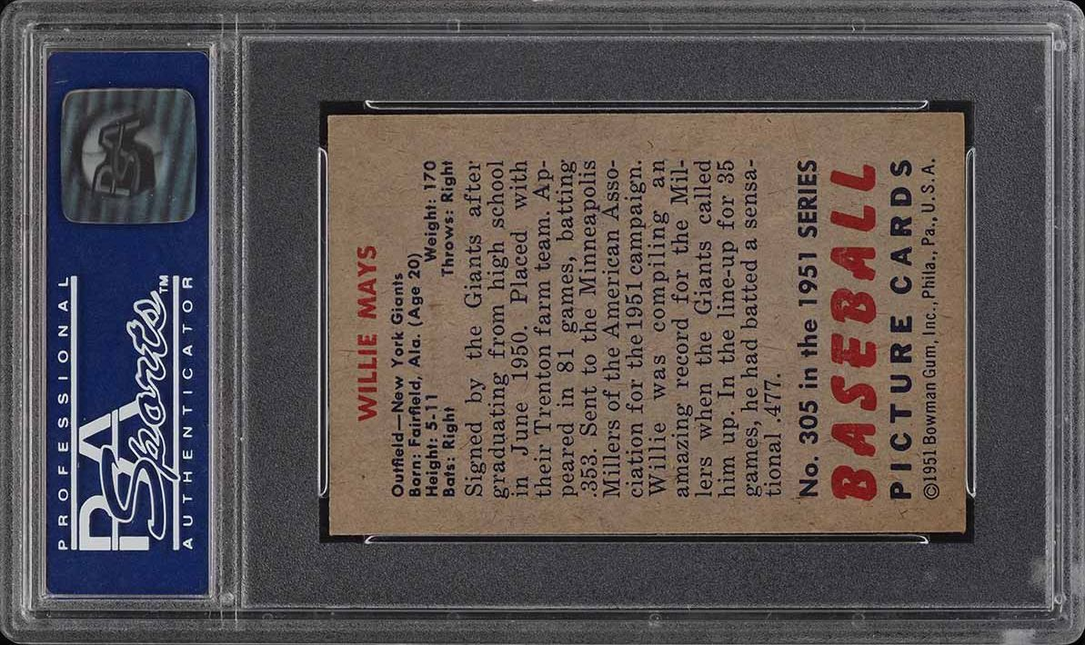 1951 Bowman Willie Mays ROOKIE RC #305 PSA 7 NRMT - Image 2