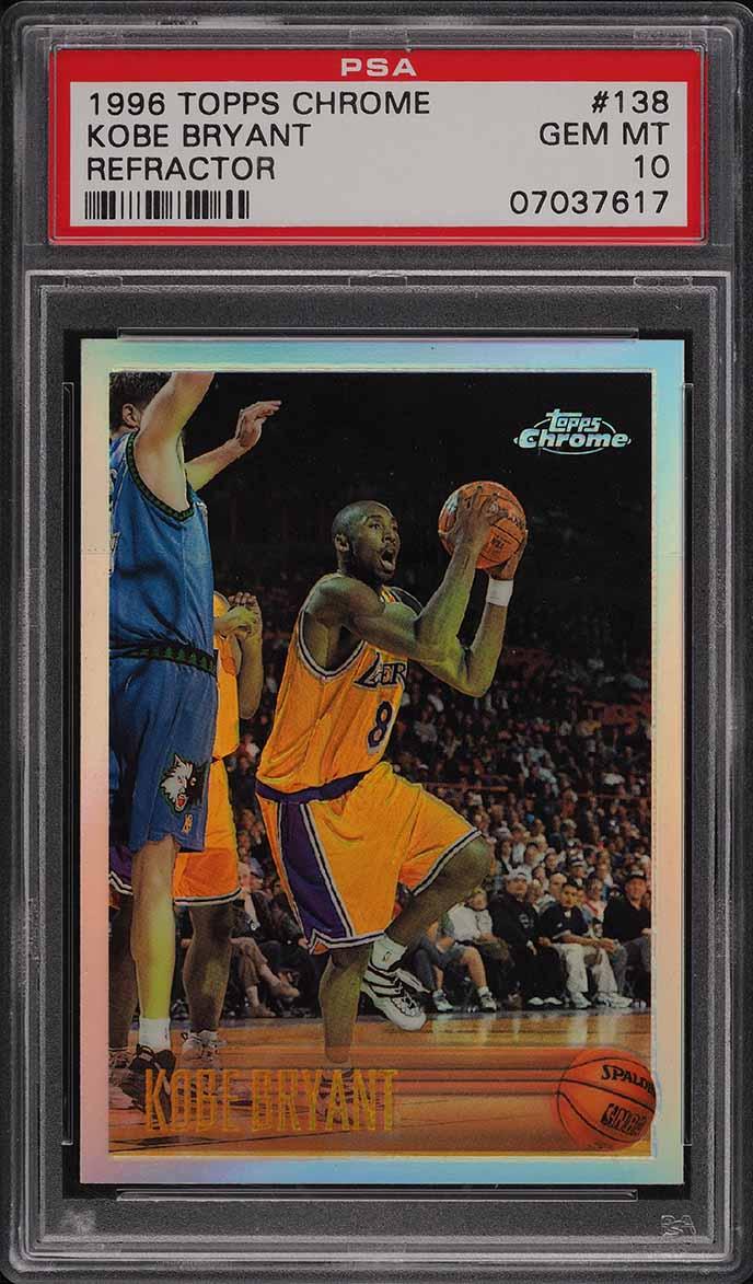 1996 Topps Chrome Refractor Kobe Bryant ROOKIE RC #138 PSA 10 GEM MINT - Image 1