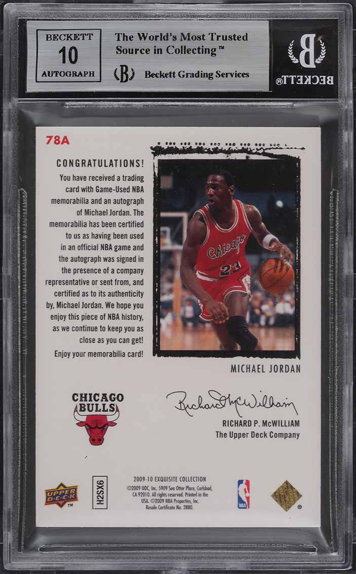 2009 Exquisite Rookie Flashback Michael Jordan PATCH AUTO /23 BGS 8.5 (PWCC) - Image 2