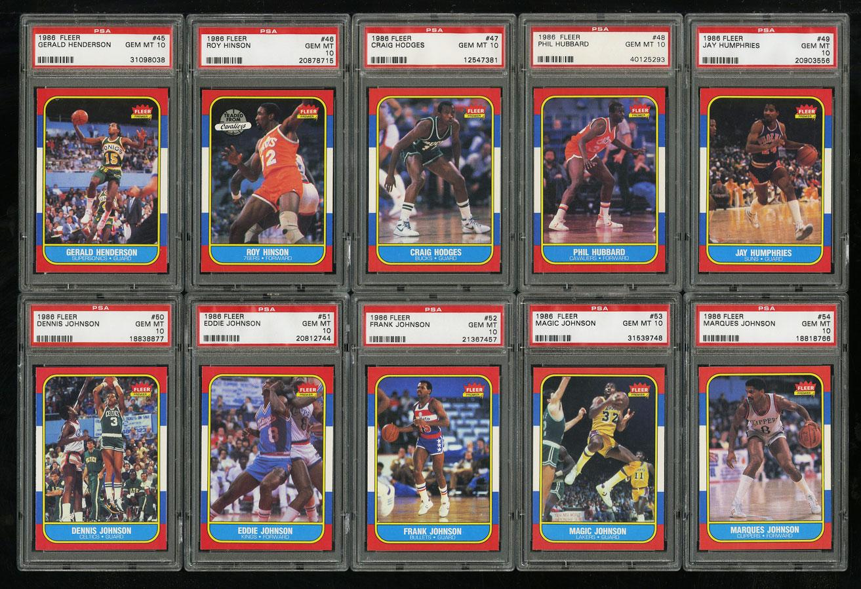 1986 Fleer Basketball COMPLETE PSA 10 SET Johnny Moore Michael Jordan RC (PWCC) - Image 7