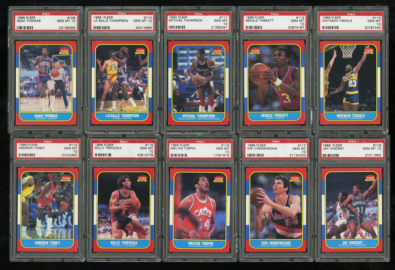 1986 Fleer Basketball COMPLETE PSA 10 SET Johnny Moore Michael Jordan RC (PWCC) - Image 13