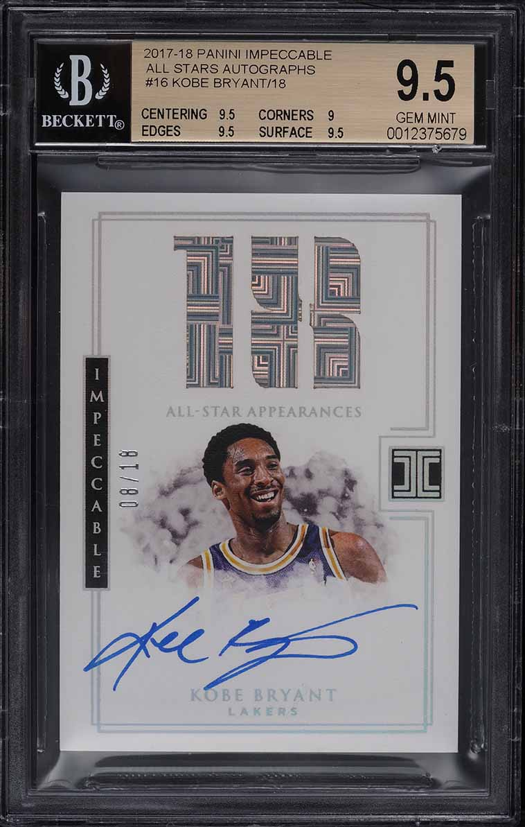 2017 Panini Impeccable All Stars Kobe Bryant AUTO JERSEY NUMBER 8/18 BGS 9.5 GEM - Image 1