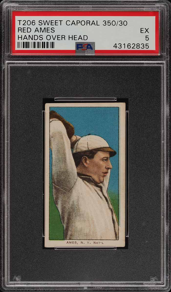 1909-11 T206 Red Ames HANDS OVER HEAD PSA 5 EX (PWCC) - Image 1