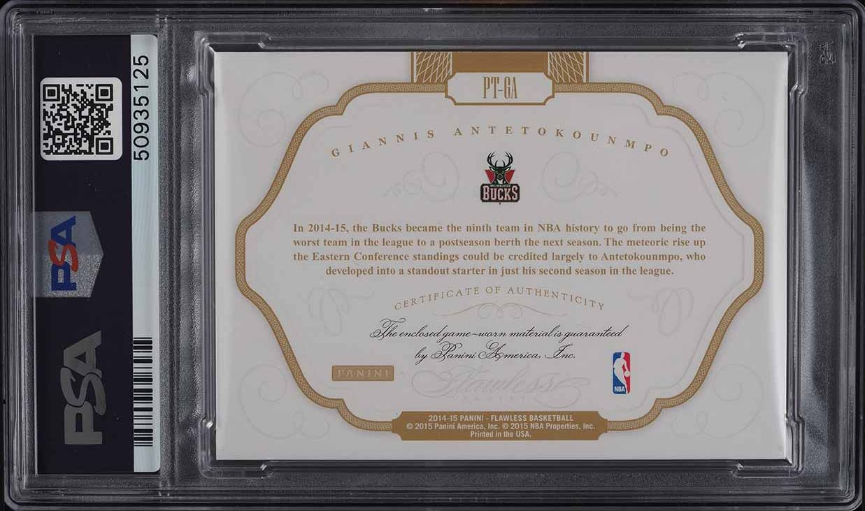 2014 Panini Flawless Black Giannis Antetokounmpo GAME-USED PATCH 1/1 PSA 9 MINT - Image 2