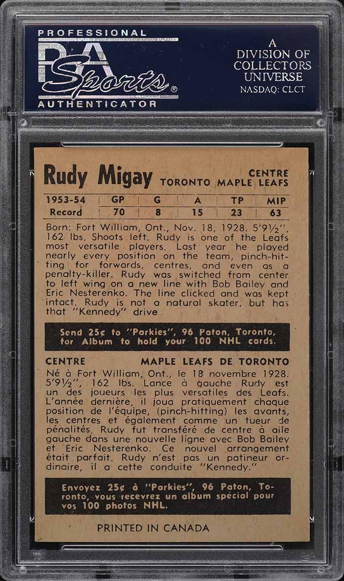 1954 Parkhurst Rudy Migay #21 PSA 8 NM-MT - Image 2