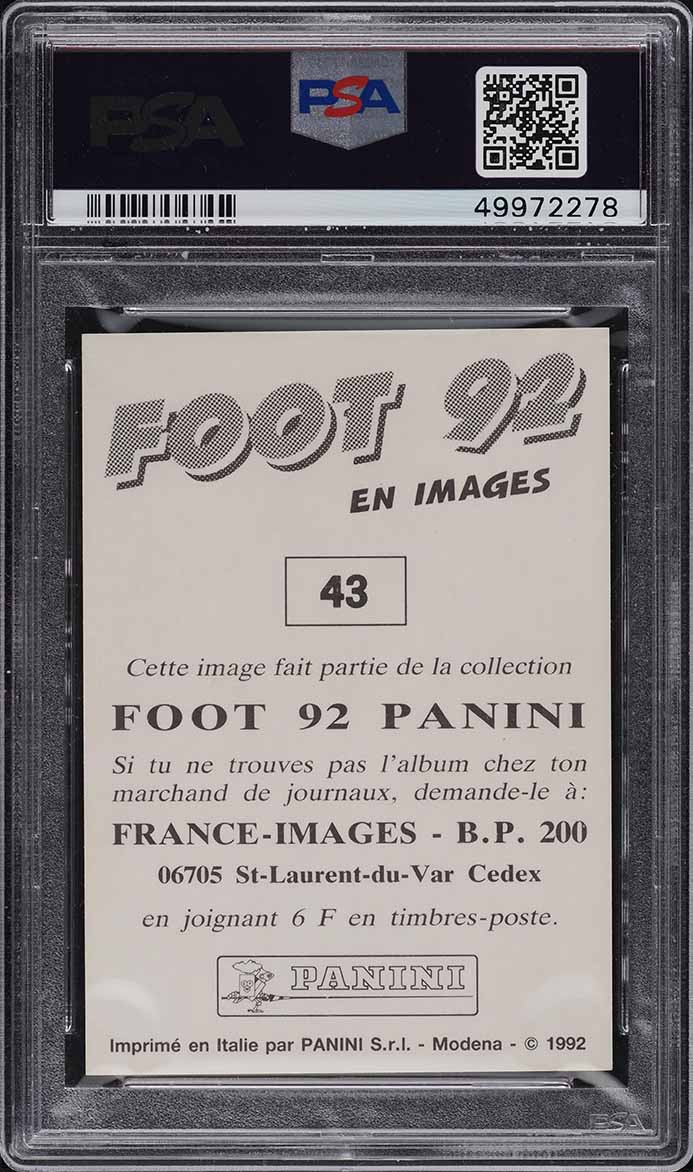 1991 Panini Foot '92 Soccer Zinedine Zidane ROOKIE RC #43 PSA 8 NM-MT - Image 2
