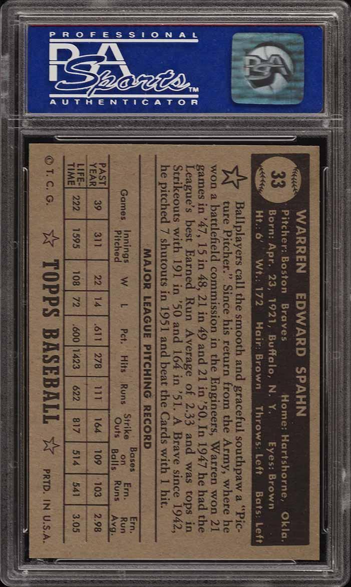 1952 Topps Warren Spahn BLACK BACK #33 PSA 9 MINT (PWCC) - Image 2