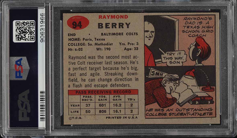 1957 Topps Football Raymond Berry ROOKIE RC #94 PSA 9 MINT (PWCC) - Image 2