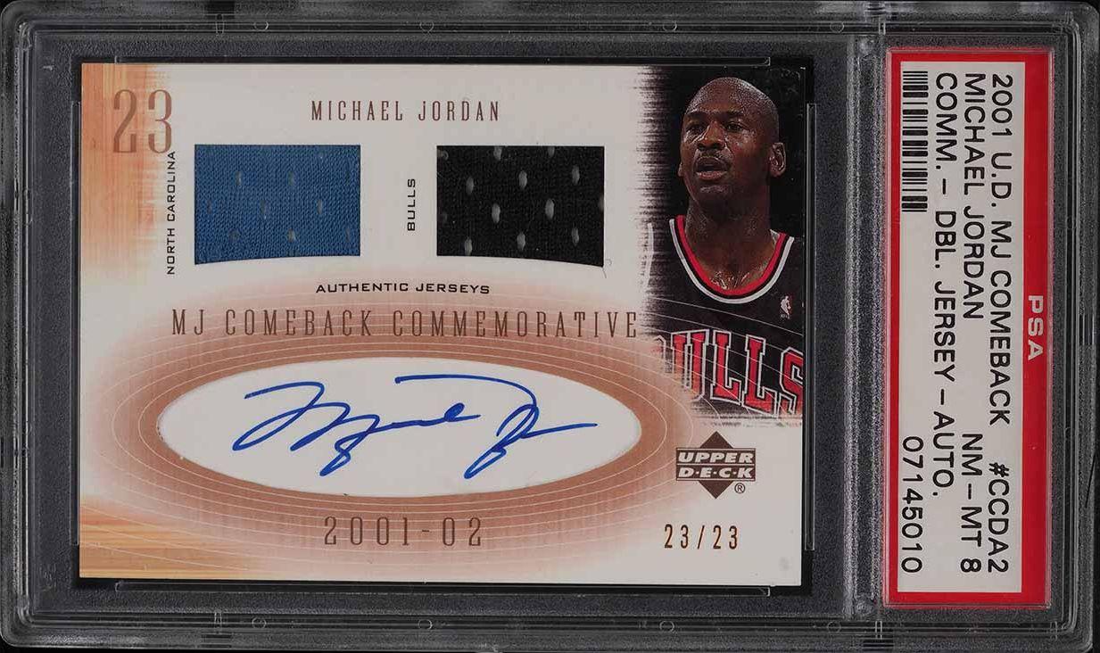 2001 UD MJ Comeback Commemorative Michael Jordan PATCH AUTO JERSEY # 23/23 PSA 8 - Image 1