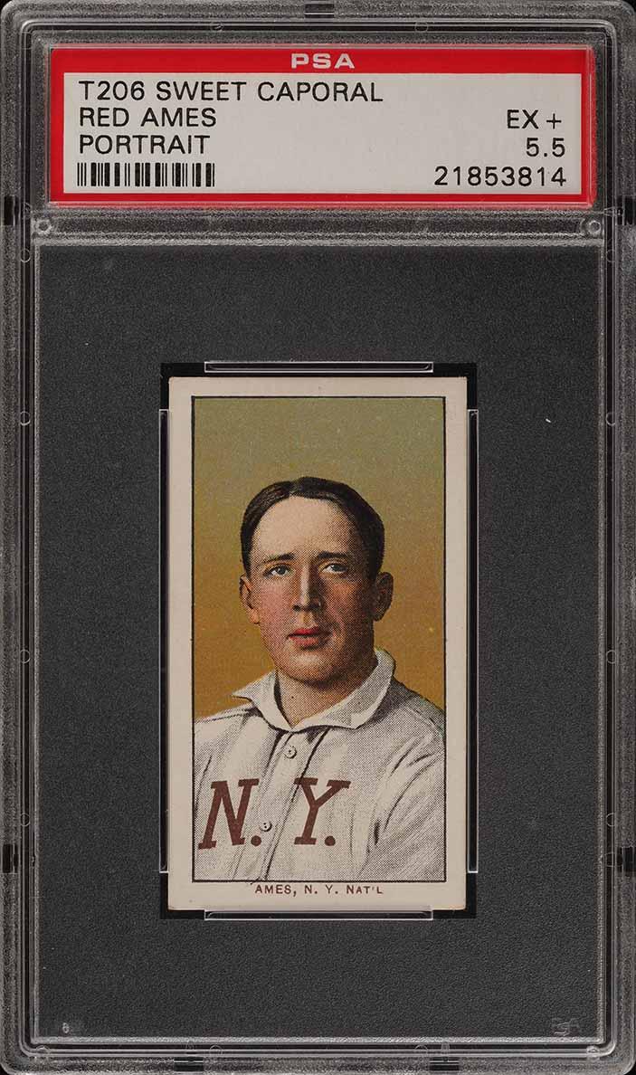 1909-11 T206 Red Ames PORTRAIT PSA 5.5 EX+ (PWCC-E) - Image 1
