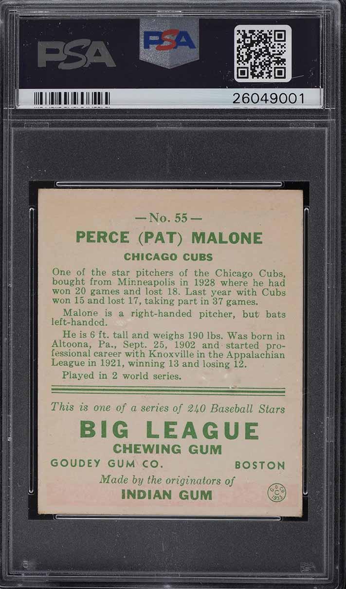 1933 Goudey Pat Malone #55 PSA 6 EXMT - Image 2