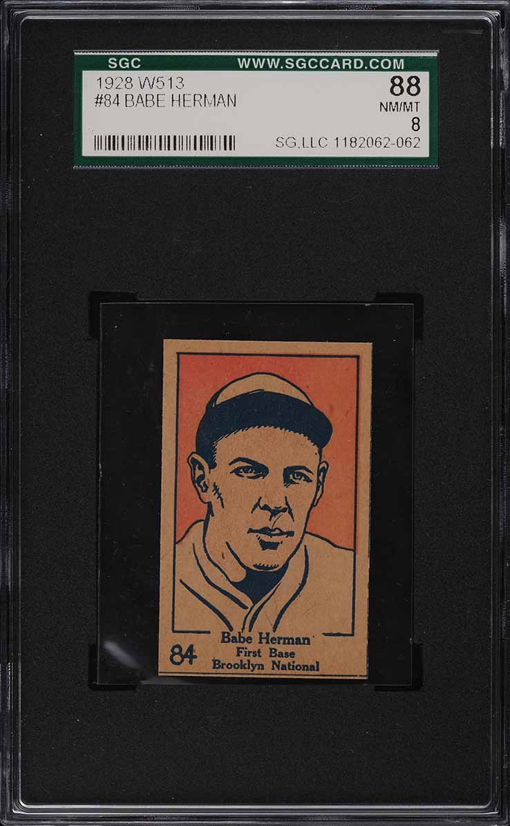 1928 W513 Strip Card Babe Herman #84 SGC 8 NM-MT - Image 1