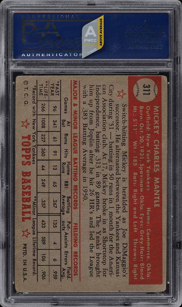 1952 Topps SETBREAK Mickey Mantle #311 PSA 1(mk) PR (PWCC-A) - Image 2