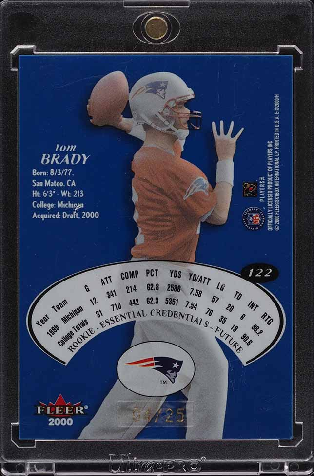 2000 E-X Essential Credentials Future Tom Brady ROOKIE RC /25 #122 - Image 2