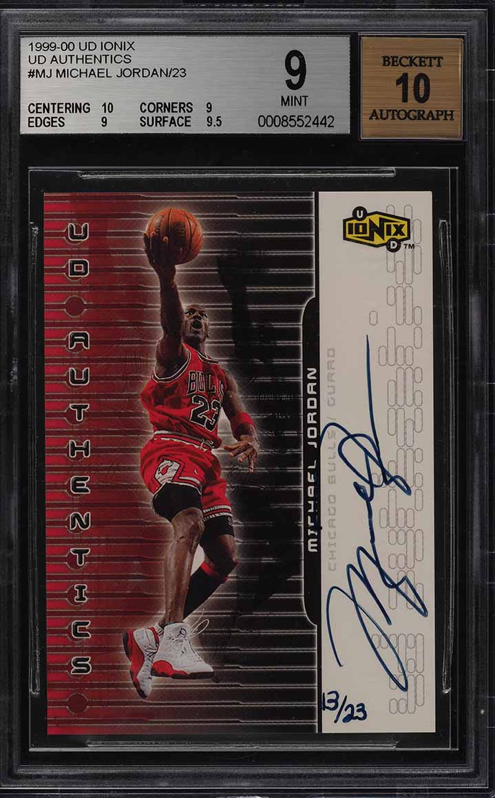 1999 Upper Deck Ionix Authentics Michael Jordan AUTO /23 #MJ BGS 9 MINT (PWCC) - Image 1
