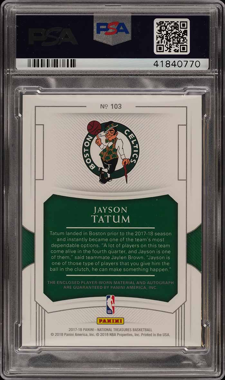 2017 National Treasures Jayson Tatum RC PATCH PSA/DNA 10 AUTO /99 PSA 10 (PWCC) - Image 2