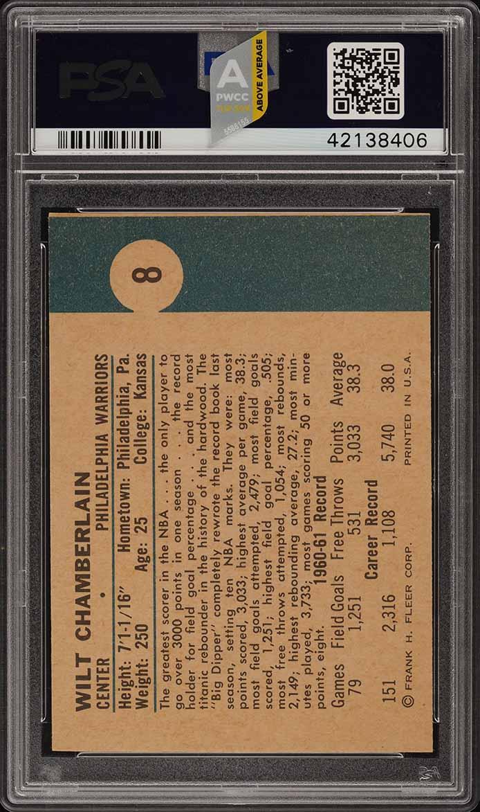1961 Fleer Basketball Wilt Chamberlain ROOKIE RC #8 PSA 8 NM-MT (PWCC-A) - Image 2