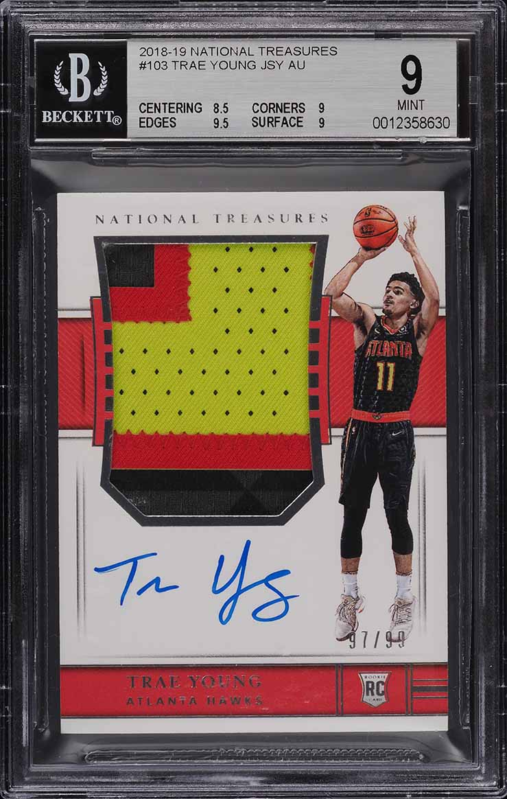 2018 National Treasures Trae Young ROOKIE RC PATCH AUTO /99 #103 BGS 9 MINT - Image 1