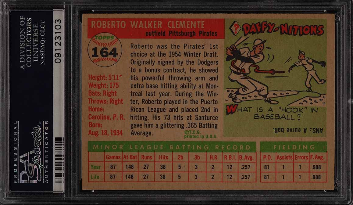 1955 Topps Roberto Clemente ROOKIE RC #164 PSA 8 NM-MT (PWCC) - Image 2