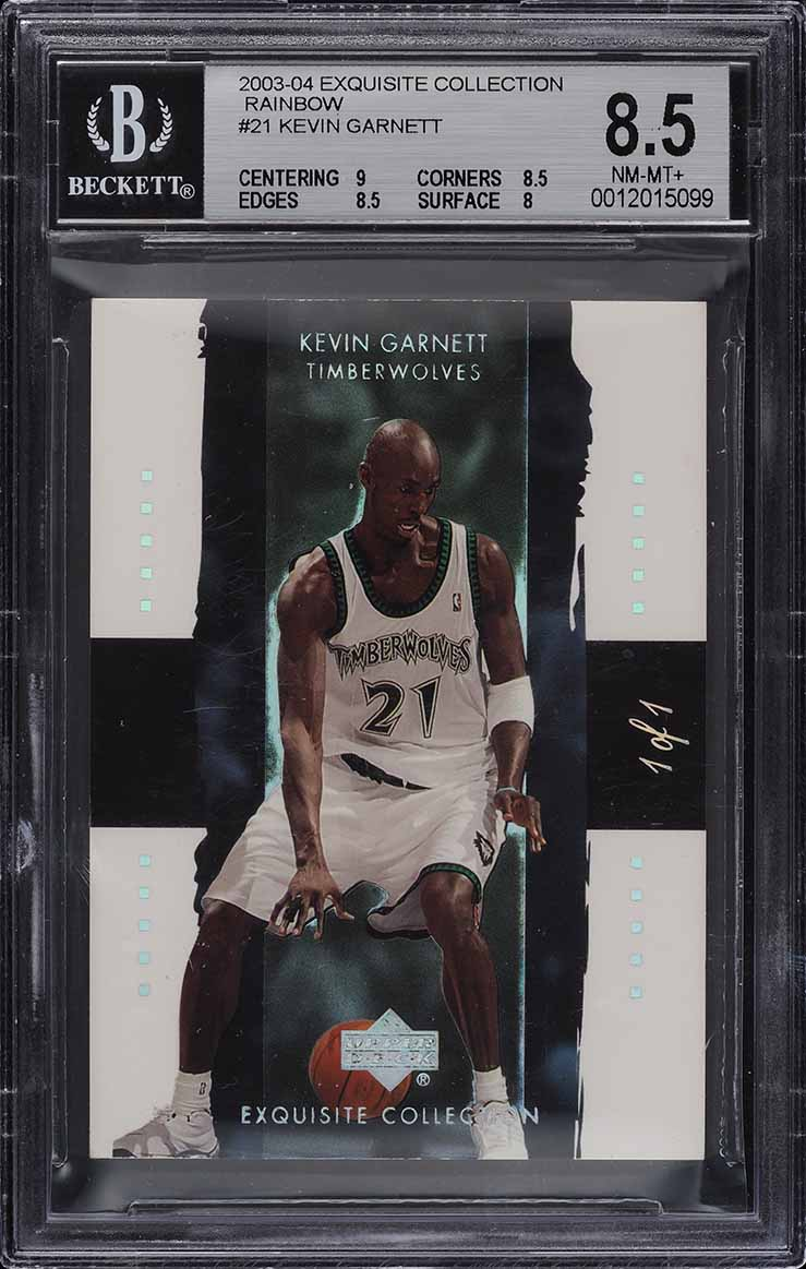 2003 Exquisite Collection Rainbow Kevin Garnett 1/1 #21 BGS 8.5 NM-MT+ (PWCC) - Image 1