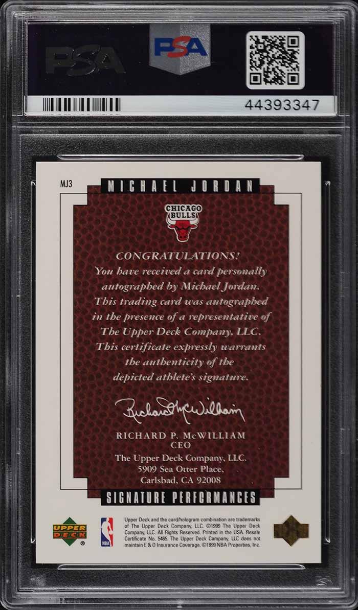 1999 UD Master Collection Signature Performances Michael Jordan AUTO /50 PSA 10 - Image 2