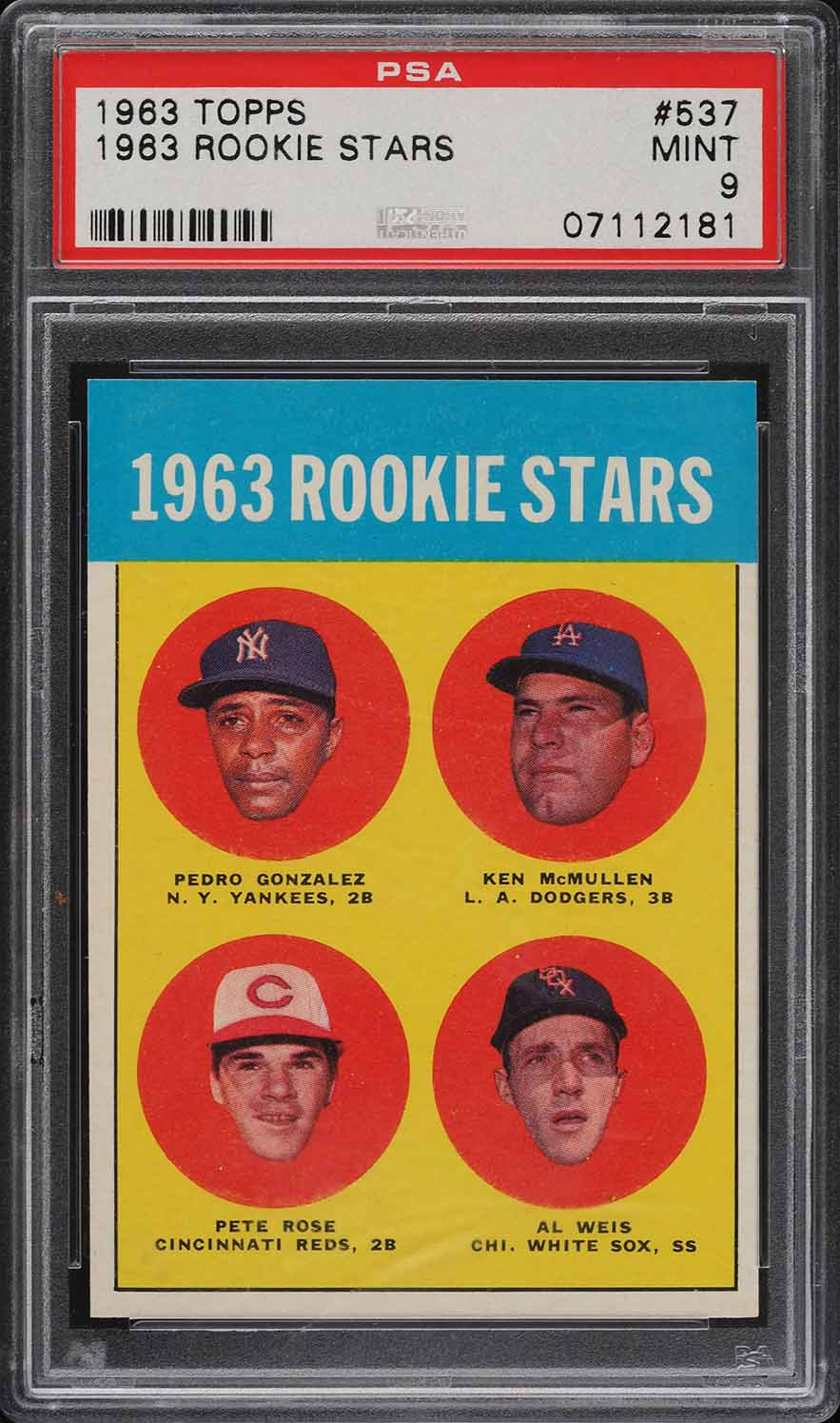 1963 Topps Pete Rose ROOKIE RC #537 PSA 9 MINT - Image 1