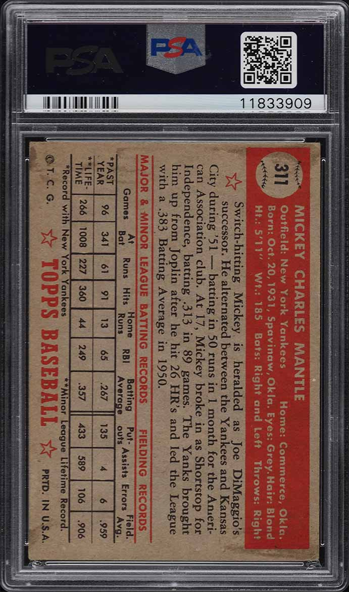 1952 Topps Mickey Mantle #311 PSA 5 EX - Image 2