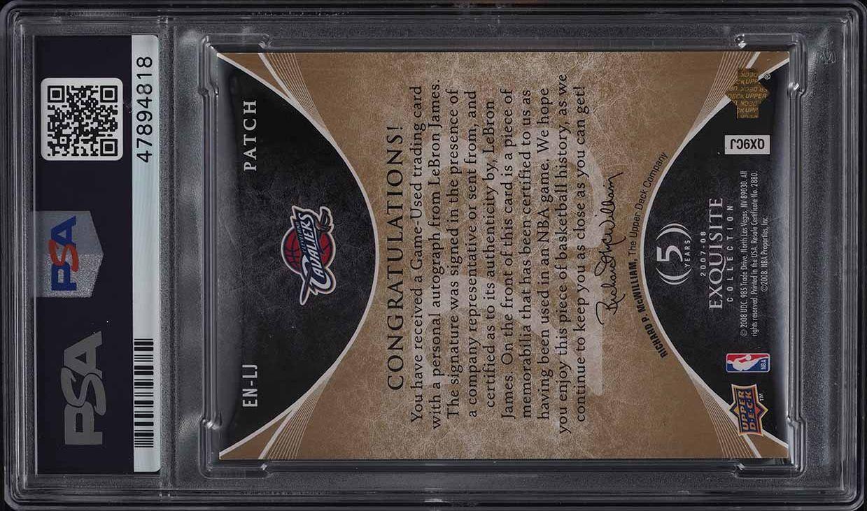 2007 Exquisite Collection Number Pieces LeBron James PATCH AUTO /23 PSA 5 EX - Image 2