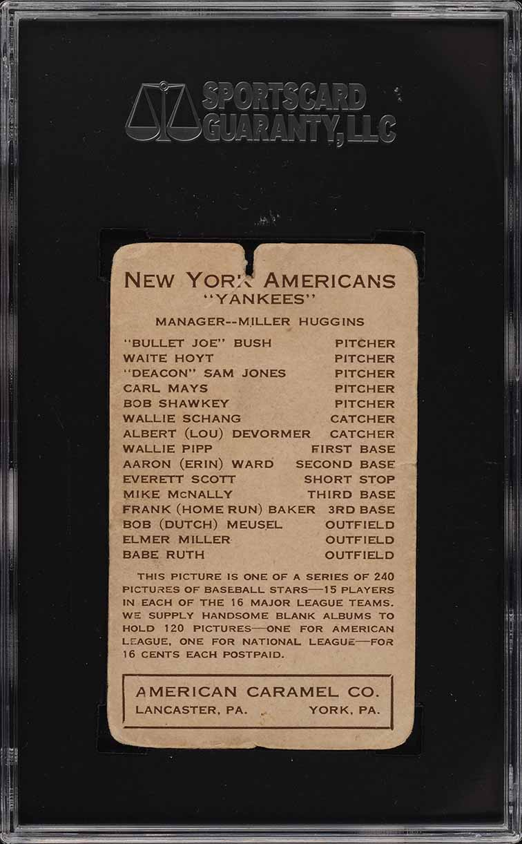 1922 E120 American Caramel Series Of 240 Babe Ruth SGC 1 PR - Image 2