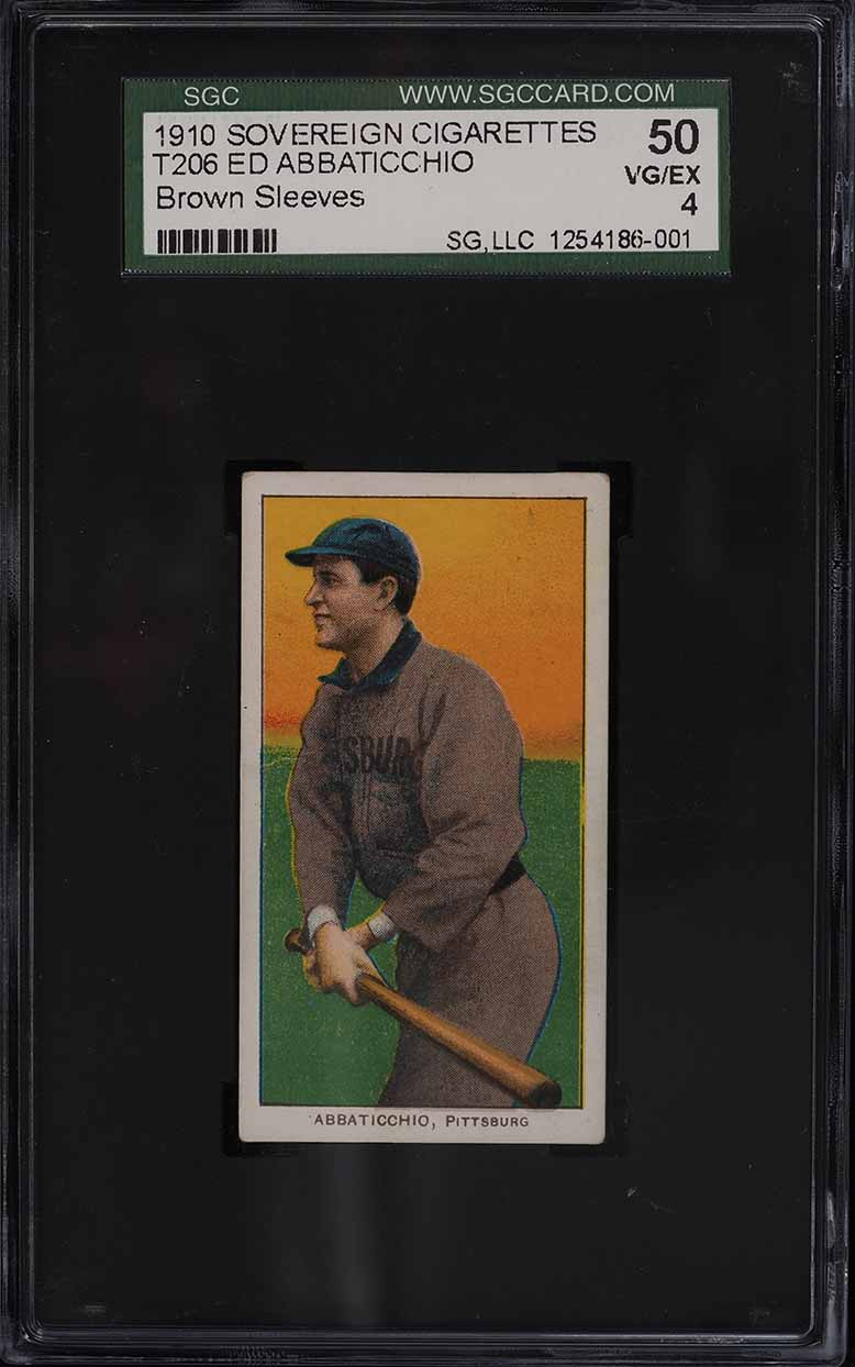 1909-11 T206 Ed Abbaticchio BROWN SLEEVES, SOVEREIGN SGC 4 VGEX - Image 1