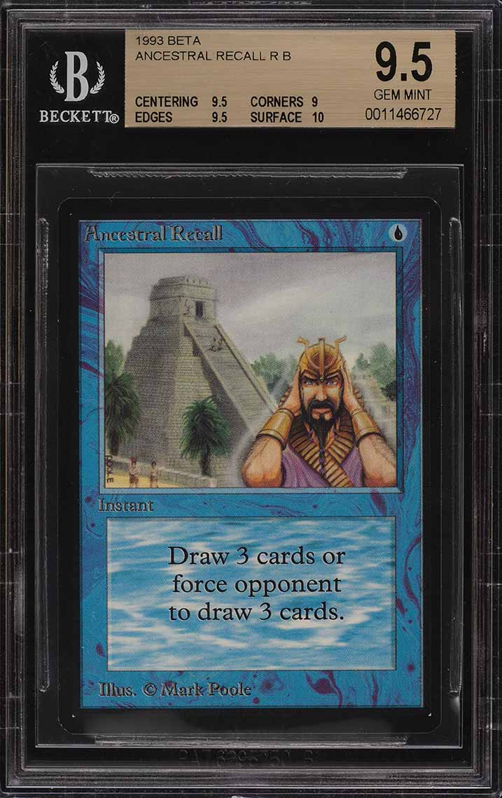 1993 Magic The Gathering MTG Beta Ancestral Recall R B BGS 9.5 GEM MT (PWCC) - Image 1